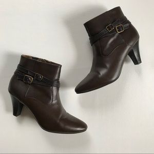 Rialto • Brown Faux Leather Heeled Ankle Boots